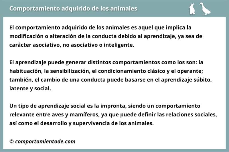Resumen, esquema sobre el comportamiento adquirido de los animales.