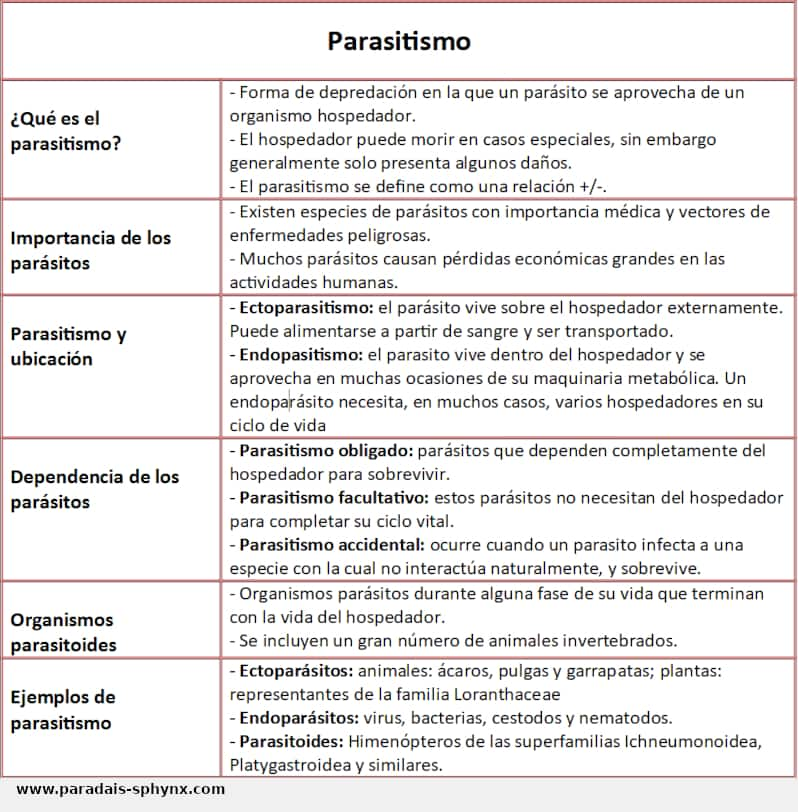 Parasitismo, una interacción biológica entre especies, tipos